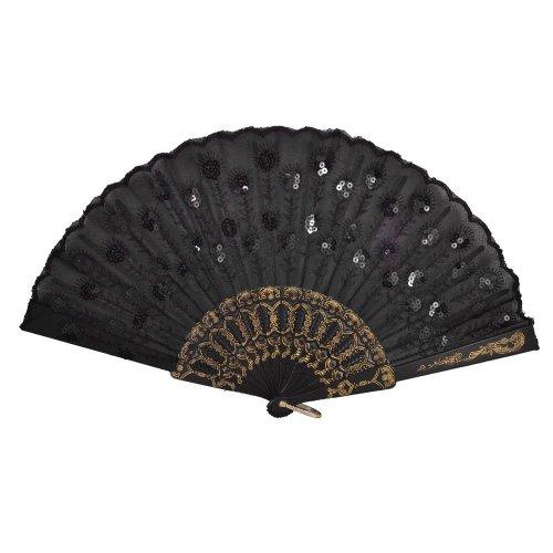 SODIAL(R) Abanico Plegable Diseno Bordado Floral Marco de Plastico - Negro
