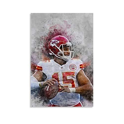 QWSDE NFL Kansas City Chiefs Patrick Mahomes Sports Poster 4 Leinwand-Kunst-Poster und Wandkunstdruck, moderne Familie, Schlafzimmer, Dekoration, Poster, 40 x 60 cm
