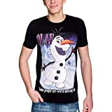 Camiseta de Frozen Disney para Hombre Olaf Worth Melting For The Frozen Elven Forest Cotton Black - ...