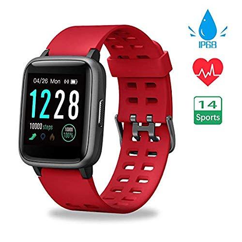 Funker S7 PULSE SPORT Smartwatch sporthorloge met touchscreen, waterdicht 5 ATM, activiteitenmonitor voor dames en heren, hartslagmeter en stopwatch voor iPhone iOS en Android (rood)