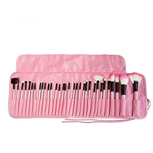 32pcs pinceau de maquillage Eye Foundation liner et ombre Sourcils Cils Sourcils rouges à lèvres de teint poudre Outils Pinceaux en bois noir rose Matériel fiable (Handle Color : Pink)
