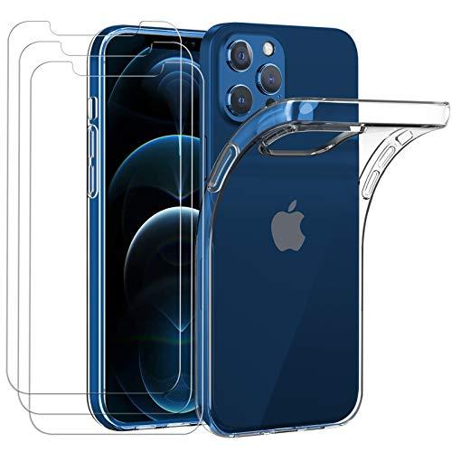 iVoler Custodia Cover per iPhone 12 PRO Max 6.7 Pollice + 3 Pezzi Pellicola VetroTemperato,Ultra Sottile Morbido TPU Trasparente Silicone Antiurto Protettiva Case per 12 PRO Max 6.7 Pollici