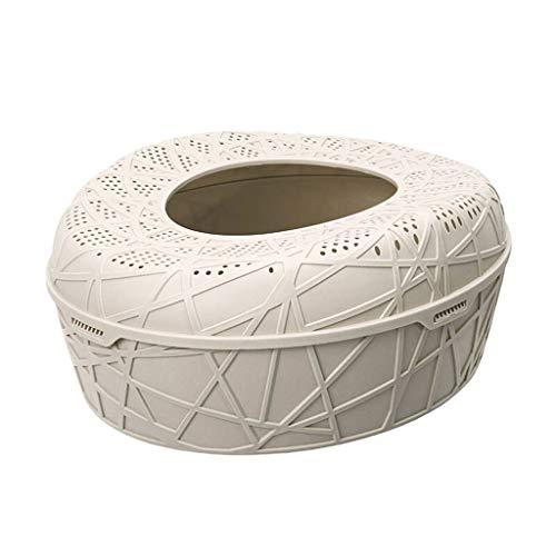 jinrun Sanitario Gatos Tipo de Entrada Superior Caja de Arena Antisalpicaduras Forma de Nido de pájaro Inodoro for Gatos Semi-Cerrado Multicolor Opcional Cat Litter Box (Color : White)