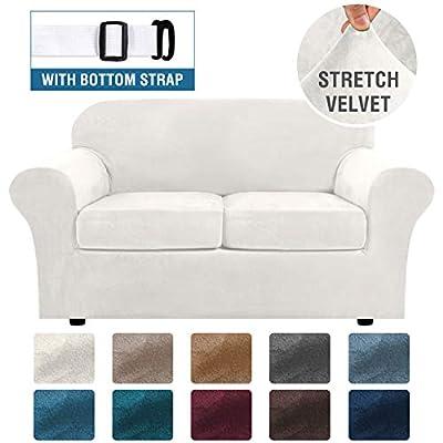 Real Velvet Plush 3 Piece Stretch Sofa Cover Velvet-Sofa Slipcover Loveseat Cover Furniture Protector Couch Soft Loveseat Slipcover for 2 Cushion Couch with Elastic Bottom(Loveseat,Ivory)