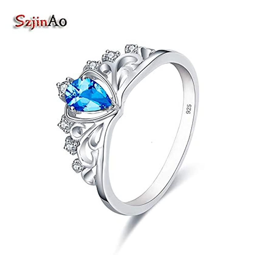 Charms Crown Rings for Women | White Gold Color Wedding 925 Sterling Silver Ring | Blue Topaz Engagement Fashion Jewelry