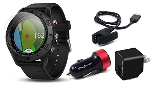 Garmin Approach S60 Golf GPS Watch (Black) Power Bundle | +PlayBetter HD Screen Protectors & USB Charging Adapters | Auto-Shot Tracking, 40,000+ Pre-Loaded Courses | 010-01702-00