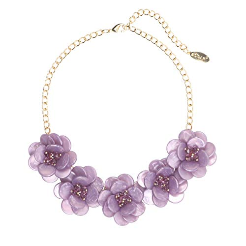 Bocar Statement Choker Flower Necklace for Women Gift (NK-10281-Lavender)
