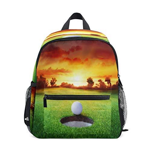 LILIFE Kinder-Rucksäcke, Golfball-Motiv, wasserabweisend, mit Brustclip, Reisen, Wandern, Rucksack, Windeln, Tagesrucksack für Kinder, Jungen und Mädchen