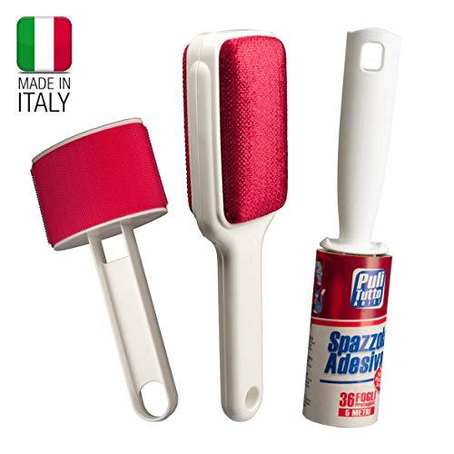Set di spazzole per la pulizia di abiti, vestiti, divani, tappeti. Spazzola velluto + spazzola lana + spazzola adesiva 5 metri