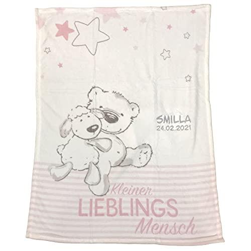 Wolimbo Babydecke mit Namen und Kleiner Lieblingsmensch hellpink - personalisiertes Geschenk zur Geburt, Taufe und Geburtstag - 75x100 cm