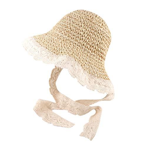 Zegeey Baby MäDchen Sonnenschutz Sommer Caps MüTze HüTe Spitze Atmungs Hut Stroh Hut Kappe Beach Outdoor(Beige)