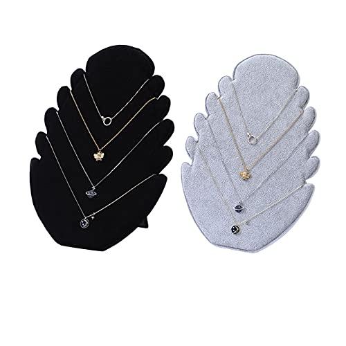 Sunbbingsp 2 Pcs Expositor Collar para Colgar Collares, Expositor Collares Largos, Exhibidor Collares, Soporte de Joyería para Colgar, Mostrar los Collares, Colgantes, Pulsera(Negro, Gris)