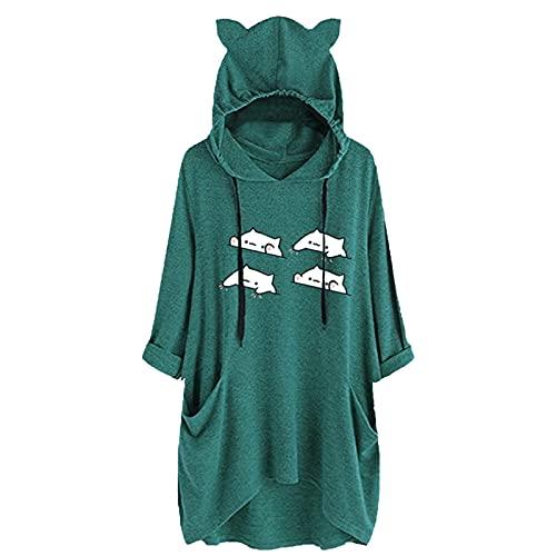 Briskorry Felpa con cappuccio, da donna, invernale, calda, oversize con cappuccio, per adolescenti e ragazze, lunga camicia irregolare, con coulisse