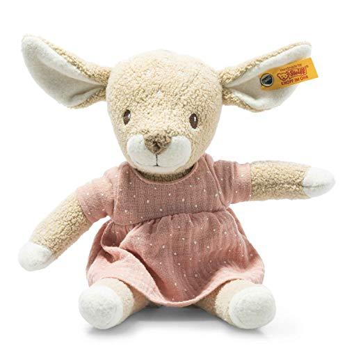 Steiff 242434 GOTS Raja Reh - 26 cm - Kuscheltier für Babys – beige/rosa (242434), rosa 143 g