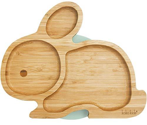 Hase Saugnapfplatte, aus natürlichem Bambus ~ Baby- und Kleinkind-Fütterungsplatte mit starkem Saugring (Minzgrün)