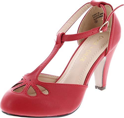Chase & Chloe Kimmy-36 Women's Teardrop Cut Out T-Strap Mid Heel Dress Pumps (6.5, Red PU)