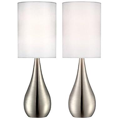 Evans Teardrop Brushed Steel Table Lamp Set of 2