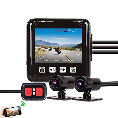 Vsysto Motorradkamera Dash Cam, 2,0 '' Doppellinse 1080P Vorderseite und Rückseite Aussicht Fahrschreiber, 150° Wasserdichter DVR Videoaufnahme, mit WiFi, Nachtsicht, Daueraufnahme