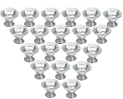 Yagosodee Tirador de cristal para cajones de cocina, baño, aparador, armario, escritorio, 20 unidades