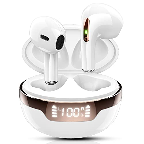 Cuffie Bluetooth, Wasart Mini Auricolari Bluetooth 5.2 HiFi Stereo, Cuffie in Ear Wireless con Mic, 40 Ore di Riproduzione, Display LED, IPX7 Impermeabile, Cuffie Senza Fili per Android iOS, Bianco