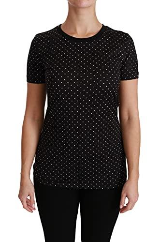 Dolce & Gabbana Camiseta de algodón con cuello redondo para mujer, color negro TSH4434