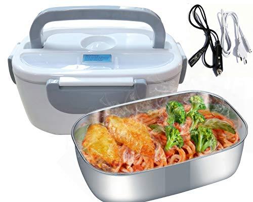 Nifogo Elektrische Lunchbox 3 in 1 Speisenwärmer Edelstahl Warmhaltebox Tragbare Food Box für Haushalt und Auto,LKW 220V und 12V 24V,40W(Grau)