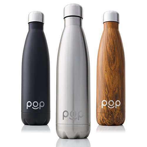 POP Design Water Bottle, Keeps Cold 24hrs. or Hot for 12hrs, Stainless Steel Vacuum Insulated, Sweat & Leak-Proof, Narrow Mouth & BPA Free, 500ml, Titanium