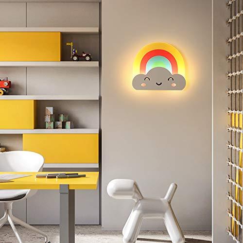Kinderzimmer Wandlampe 10W LED Wandleuchte Warm Romantisch Nachttischlampe Jungen Mädchen Schlafzimmer Innenbeleuchtung Regenbogen-Smiley Design Mauer Erleuchtung,Trikolore Dimmen L28CM,Rainbow
