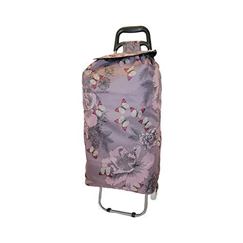 Euroshopper Einkaufstrolley – Leichtgewichtige, zusammenklappbare Einkaufstaschen mit Rädern – robust, wasserdicht, Festival-Trolley mit 2 Rädern – Push-Cart-Tasche (Schmetterling)