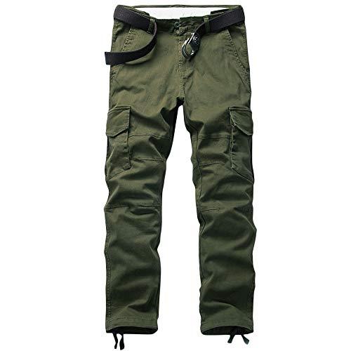 MOTOR CASUAL Pantalones de carga para hombre, pantalones de combate, pantalones tácticos de bosque, bolsillos militares, ajustados, pantalones ajustados para senderismo al aire libre, Oliva/pétalos de pincel., 36