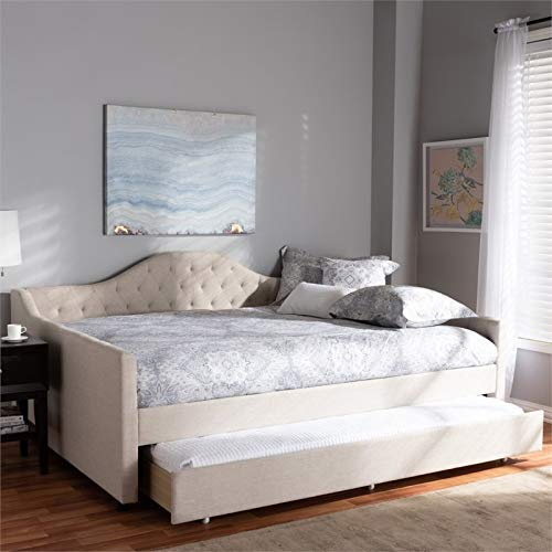 Baxton Studio Eliza Modern and Contemporary Light Beige Fabric Upholstered Queen Size Daybed with Trundle