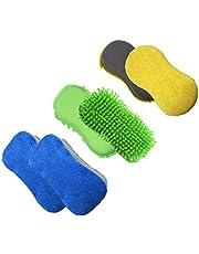 Polyte - Microvezel spons om binnen- en buitenkant auto krasvrij te poetsen - 3-pack (blauw,groen,geel)