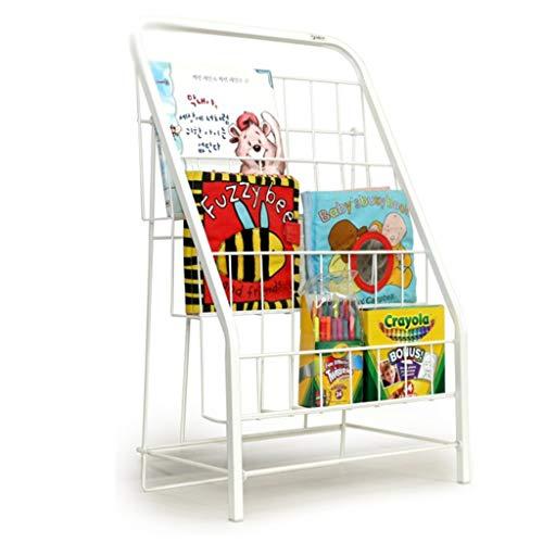 Bibliothèques Chambre d'enfant pour Enfants de Livres Porte-revues Porte-revues présentoir en Fer forgé Petite pour bébé, 3 Couches de Blanche en