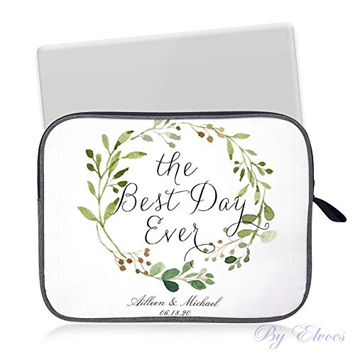 Laptop Sleeve Water Repellent Neoprene Bag Protective Case Cover Compatible with MacBook Pro/Asus/Dell/HP/Sony/Acer 14 inch, Greenery Wreath The Best Day Ever