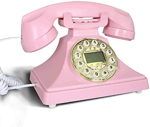 Teléfono Decorativo Teléfono Inicio Oficina Botón Marcación Declinación Teléfono Antiguo Línea Línea Utilizada para Oficina Familia Sala de Estar Decoración (Color : Pink)