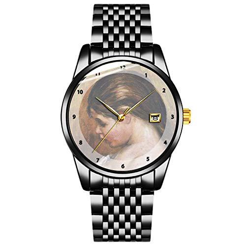 Schwarze ultradünne minimalistische wasserdichte Uhr Young Girl Reading - Pierre-Auguste Renoir Armbanduhren mit Dattelmetallarmband