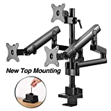AVLT-Power Triple 27' Monitor Desk Stand - Easy Installation New Top Mounting -Mount Three 15.4 lbs Computer Monitors on 3 Full Motion Adjustable Arms - Organize Surface with Ergonomic VESA Mount