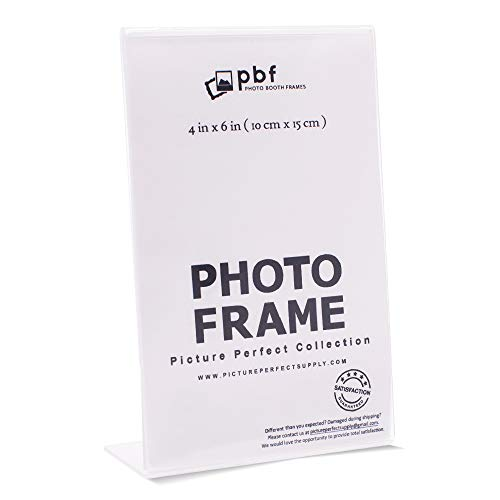 Photo Booth Frames - 4x6 Inch Clear Acrylic Plastic Display, Slanted Back Vertical Standing Picture or Display Sign Holder with Inserts - 12 Count