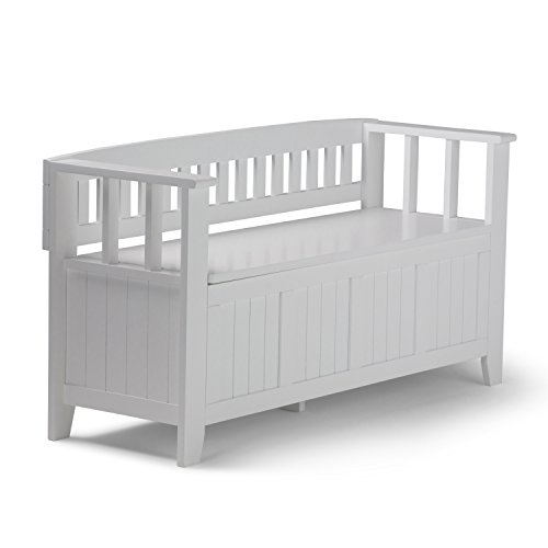 Simpli Home Acadian SOLID WOOD 48 inch Wide Entryway Storage Bench with Safety Hinge, Multifunctional, Rustic, in White