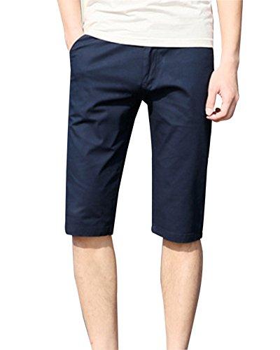 DianShao Bermudas Shorts Herren Sport Cargo Kurze Hose Knielang Chinohose Boxershorts(Gürtel Nicht Enthalten) Blau 31
