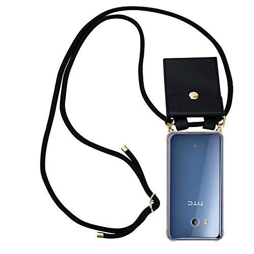 Cadorabo Handy Kette für HTC Ocean / U11 in SCHWARZ - Silikon Necklace Umhänge Hülle mit Gold Ringen, Kordel Band Schnur & abnehmbarem Etui – Schutzhülle