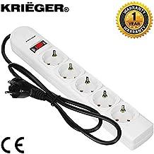Krieger Electric German-Schuko Surge Protector Model KRE5 250 Joules 220V, 5 outlets