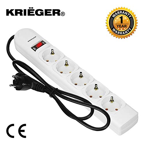 Krieger Electric German-Schuko Surge Protector Model KRE5 250 Joules 220V, 5 outlets