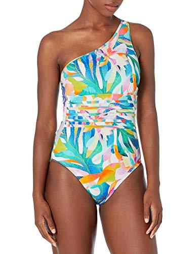 La Blanca Women's Standard Shoulder One Piece Swimsuit, Multi//Wild Tropic, 0
