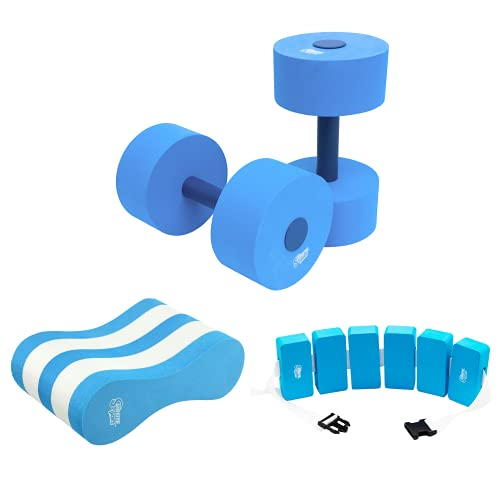High Density EVA Foam Pull Buoy, Dumbbell, Swim Belt, Pool Training Aid, Legs and Hips Support for Adults, Kids, and Beginners, for Swimming Stroke (Combo)