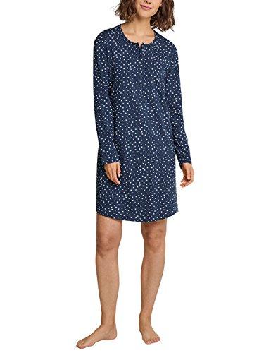 Schiesser Damen Sleepshirt 1/1 Arm, 100cm Nachthemd, Blaugrau gepunktet, 38