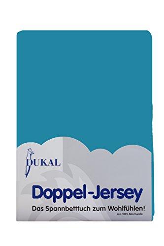 Dukal, Wasserbett Spannbettlaken, 140-160 x 220 cm, hochwertiger DOPPEL-Jersey (100% BW), Farbe: Ocean-blau