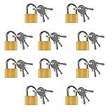 solawill Set di 10 Lucchetto in ottone, Mini lucchetto con chiave lucchetti per bagagli Lucchetto a...