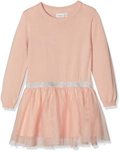 NAME IT Mädchen NMFRALUKKA LS Knit Dress Kleid, Rosa Rose Cloud, 98