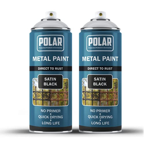 Polar Premium Direct to Rust, Satin Black Metal Spray Paint for...